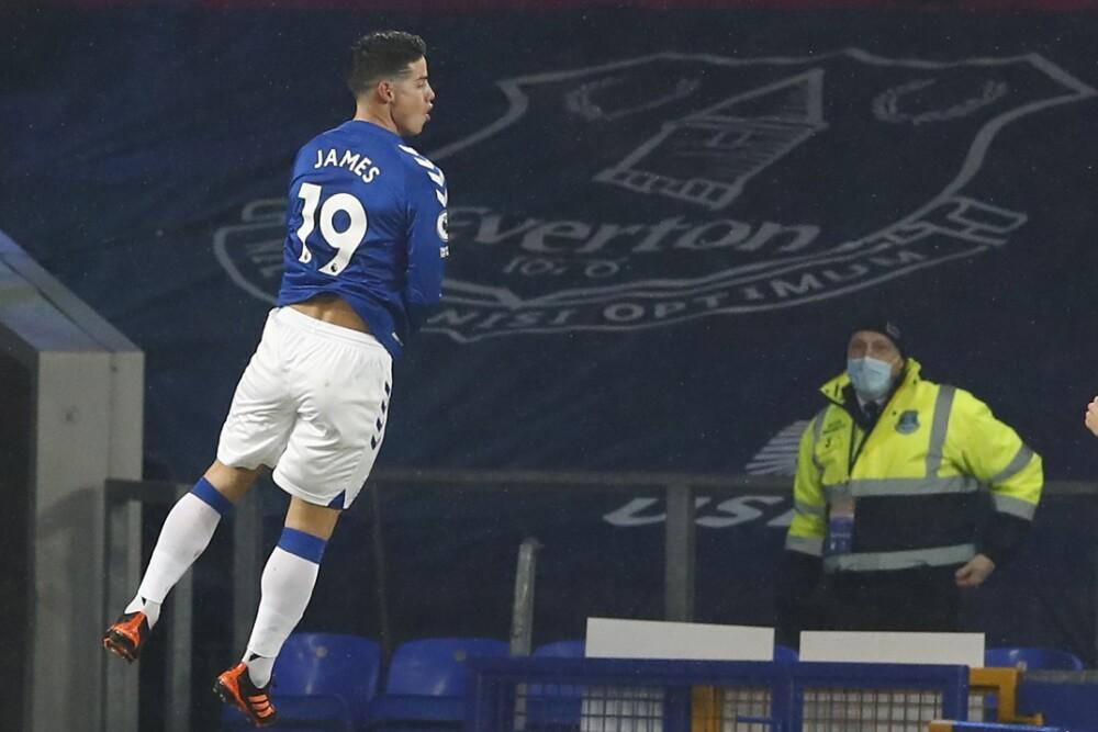 James Rodríguez celebra gol con Everton. Foto: AFP