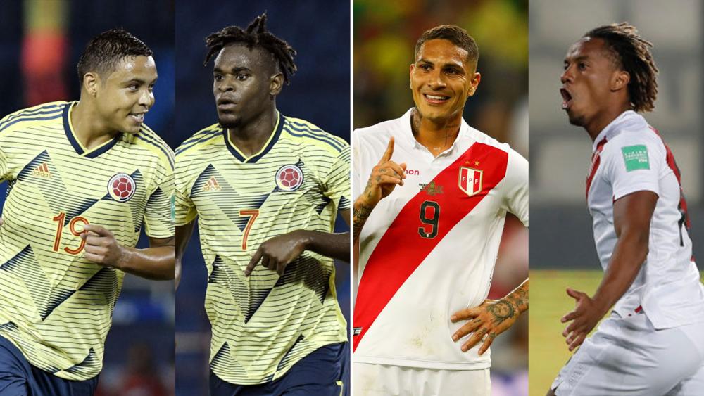 Delanteros de la Selección Colombia y de Perú