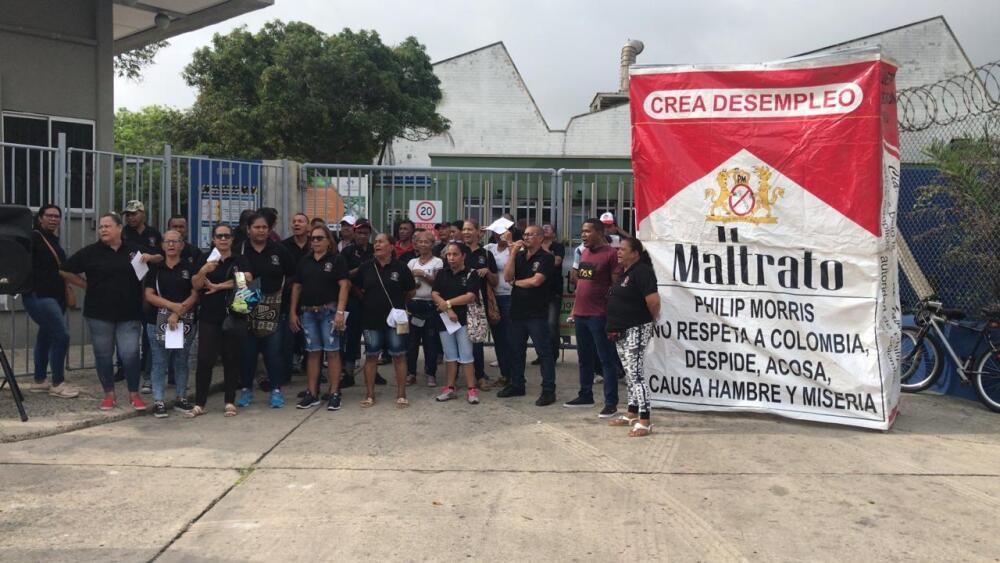 335969_Blu Radio/ Protesta trabajadores Coltabaco en Barranquilla. Foto: Cortesía