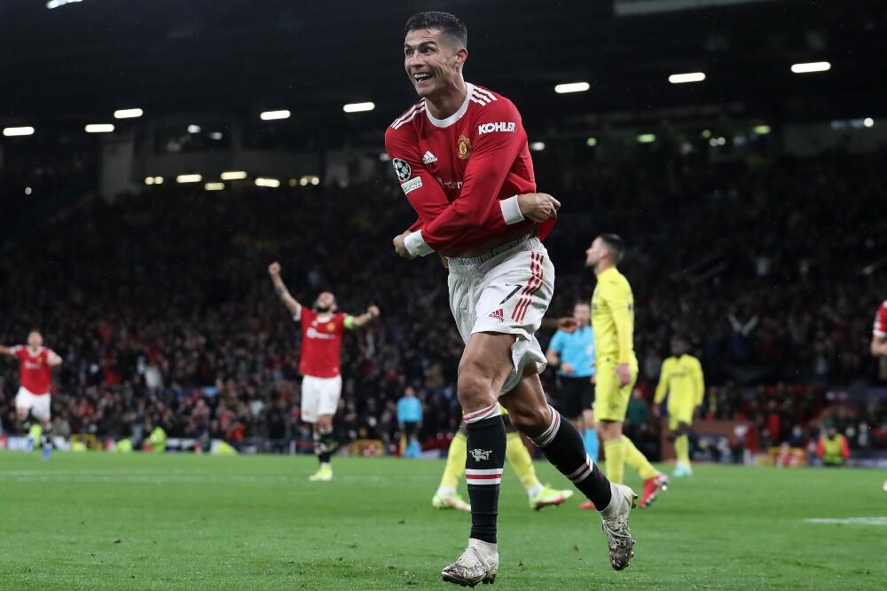 Celebración de Cristiano Ronaldo, jugador del Manchester United