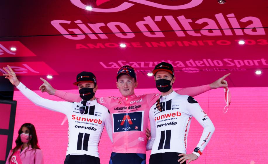 Podio final del Giro de Italia 2020.