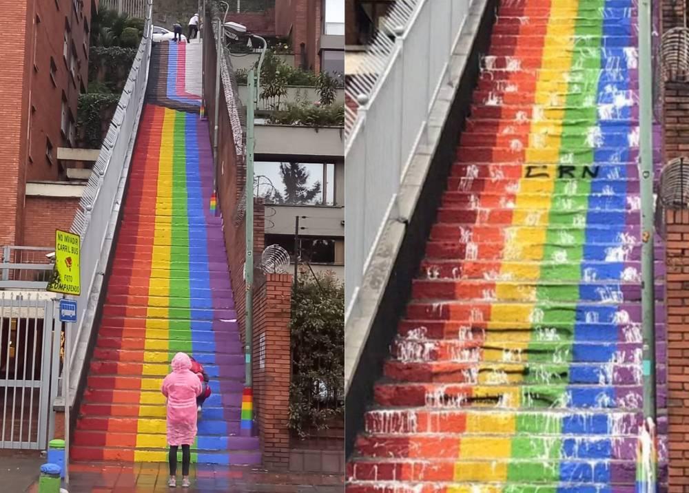 Vandalismo contra homenaje a la comunidad LGBTI en Bogotá.jpg
