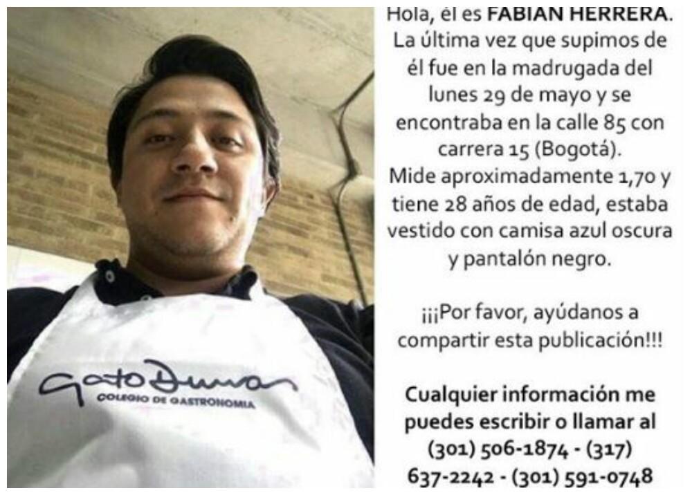 285113_BLU Radio, Fabian Herrera joven desparecido / foto: Suministrada