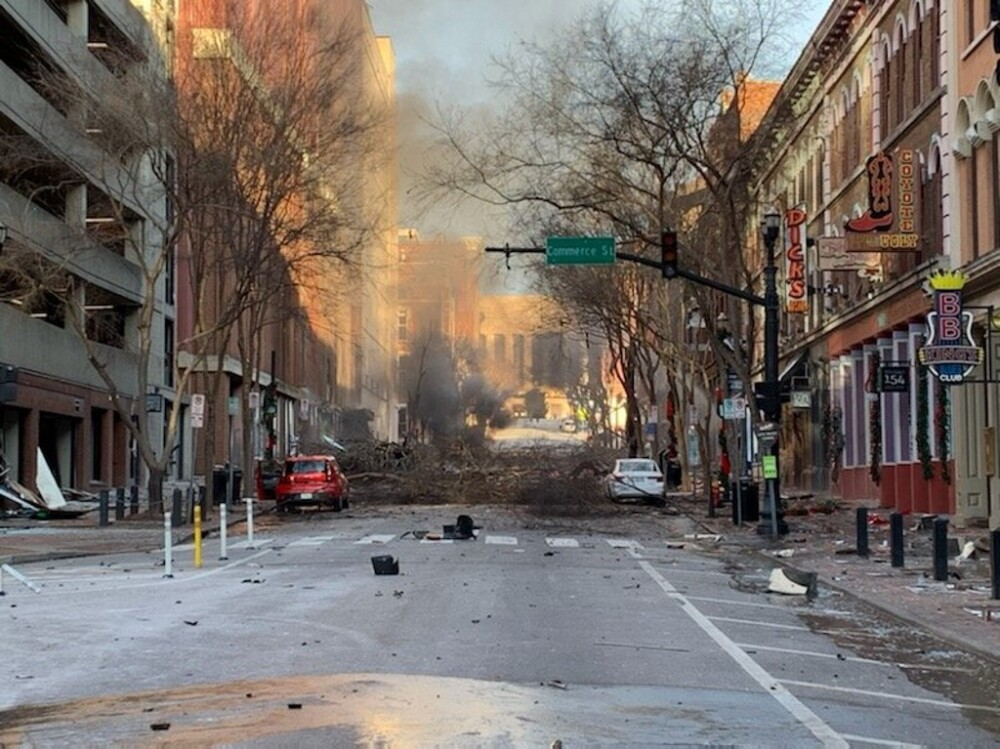 Explosión en Nashville, Estados Unidos. Foto AFP