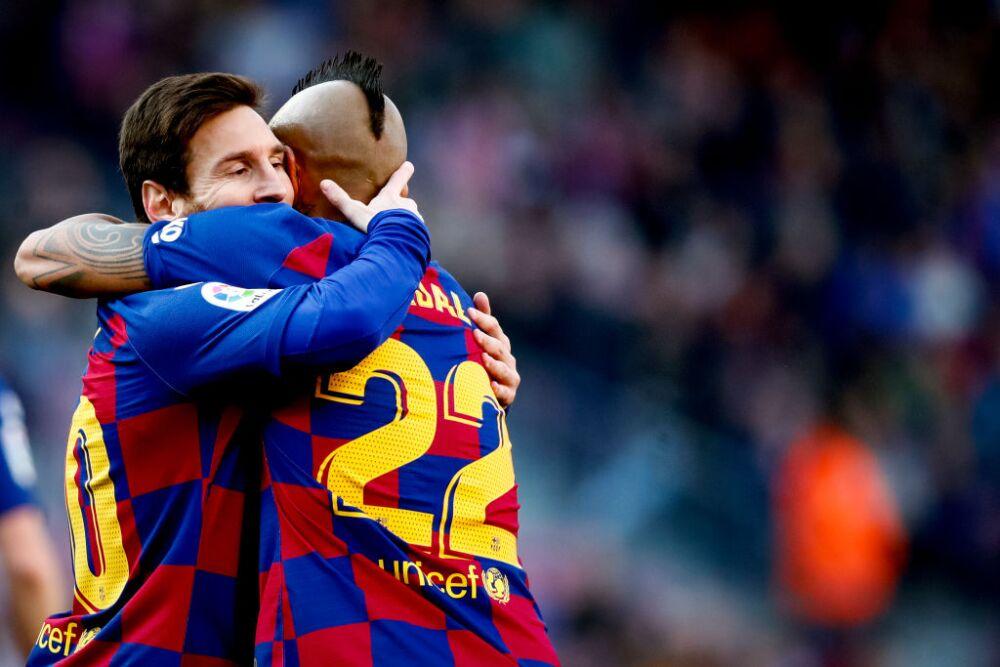 Lionel Messi y Arturo Vidal, jugadores Barcelona