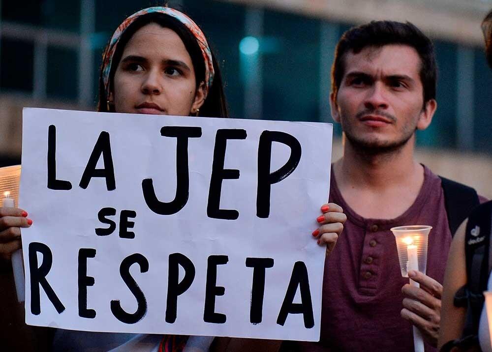 Manifestación a favor de la JEP Foto AFP, referencia.jpeg