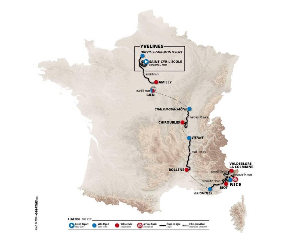 La París-Niza 2021 tendrá ocho etapas y se recorrerán 1.239 kilómetros.