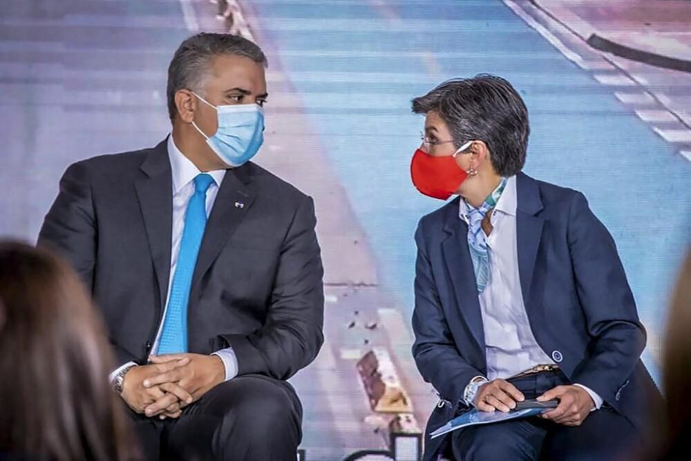 Presidente Iván Duque, alcaldesa Claudia López